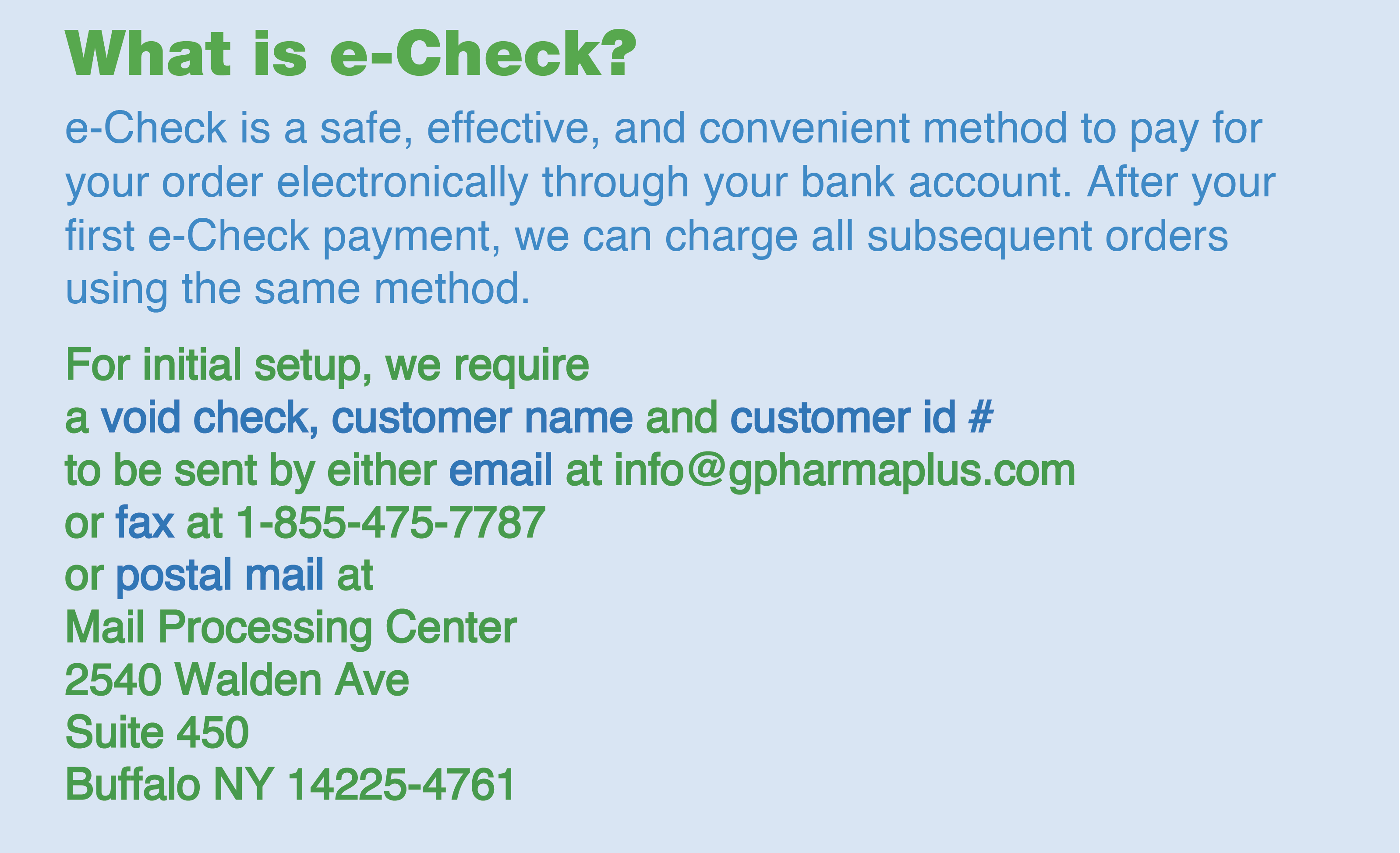 we now accept e-check payments